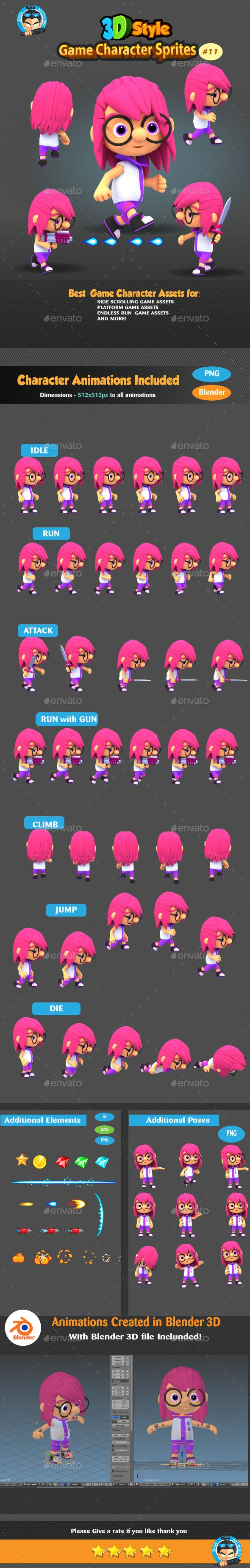 3D Rendered Game Character Sprites Design Template 11 - Sprites Game Assets Design Template Vector EPS, AI Illustrator. Download here: https://graphicriver.net/item/3d-rendered-game-character-sprites-11/19332362?ref=yinkira