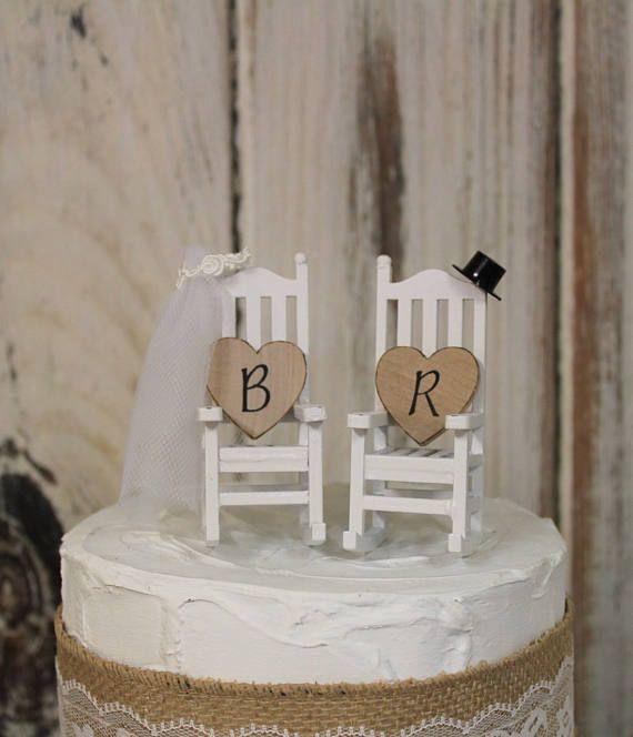 Wedding Cake Topper Bride And Groom Rocking Chairs Rustic CakeShabby Chic WeddingsWedding ToppersWedding