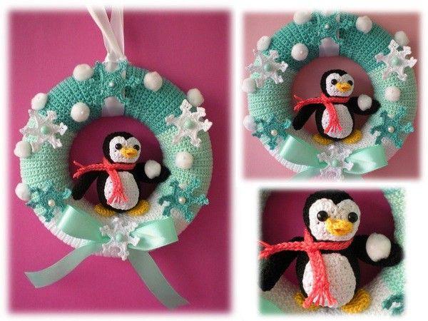 Ein kleiner Lichtblick im ansonsten dunklen Winter ist der Tür-Kranz mit dem süßen Pinguin + den Eiskristallen. Jetzt schöne Winter-Deko…