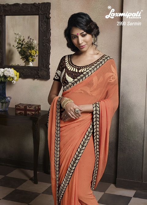 This uniquly designed marvel chiffon saree is truly a Leader with its Zari work & heavy blouse. Dream come true for every women!