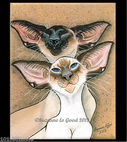 LARGE LIMITED EDITION UNMOUNTED SIAMESE CAT PAINTING PRINT BY SUZANNE LE GOOD   eBay