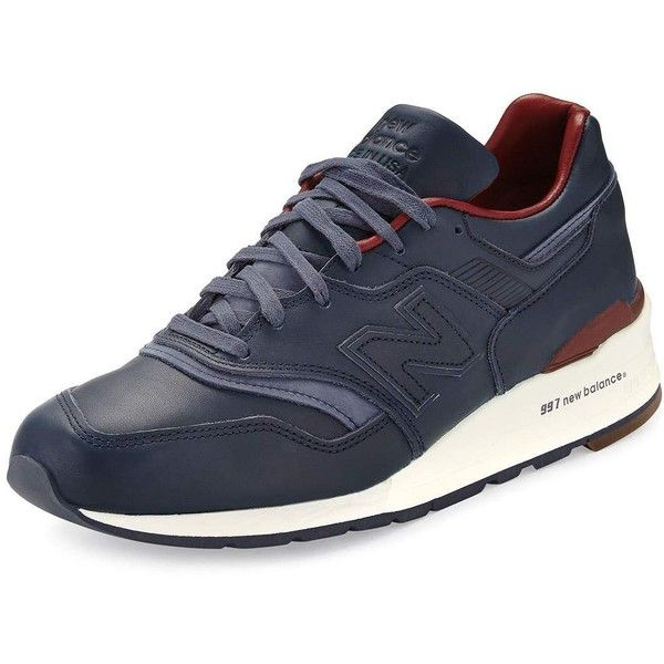 New Balance Men's 997 Bespoke Leather Sneaker (465 CAD) ❤ liked on Polyvore featuring men's fashion, men's shoes, men's sneakers, mens leather lace up shoes, mens lace up shoes, mens leather shoes, new balance mens shoes and mens sneakers