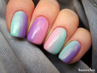 Pastel ombre soak off nails - Semilac 003, 035, 022   baseveheinails   Bloglovin'