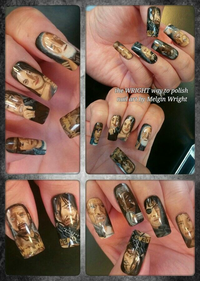 The Walking Dead nails. Hand painted nail art with nail polish and acrylic paint #twd #thewalkingdead #walkers #thewalkingdeadfanart