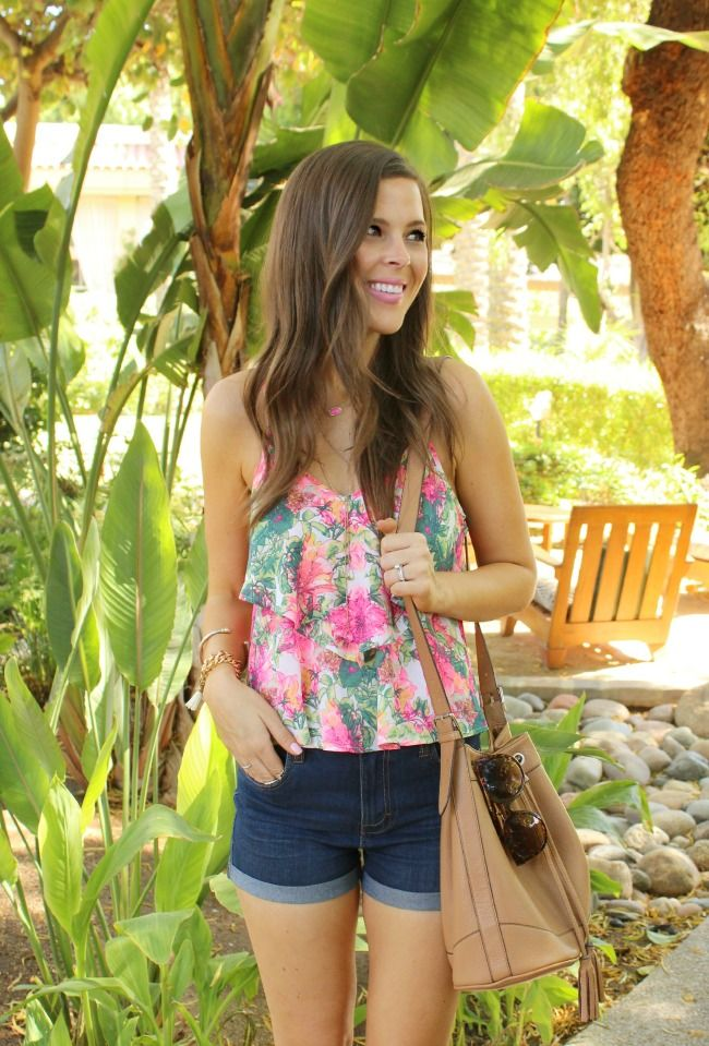 Top:  Nordstrom , Shorts:  Nordstrom ( only $34! ), Wedges:  Nordstrom  ( on sale!  also available here ), Bag:  Old Nav...