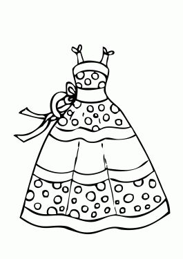 Dress summer polka dot coloring page for girls, printable ...