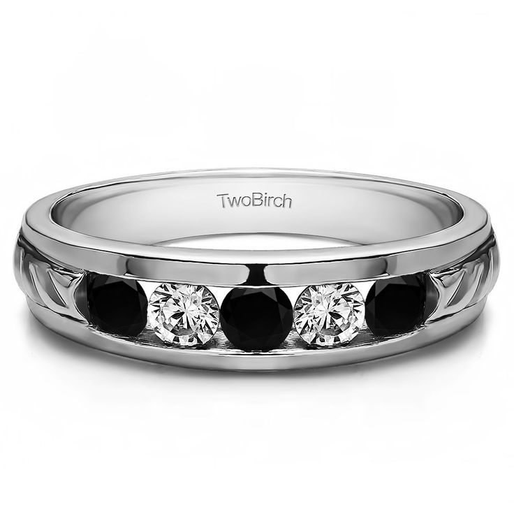 14k White Gold Unique Men's Wedding Ring or Unique Men's Fashion Ring With Black And White Diamonds(0.75 Cts., black, I1-I2) (14k Yellow Gold, Size 13) (solid)
