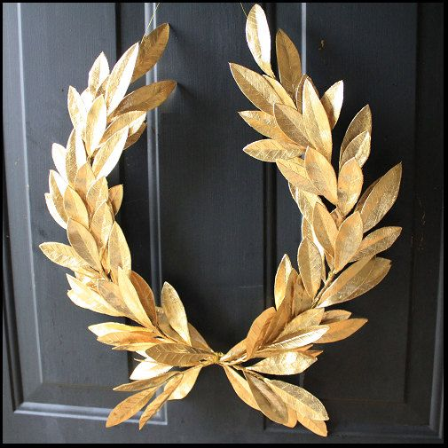 Year-round Everyday Decor Gold Laurel Bay Leaf Crest Wreath Peace Victory Wedding Olympic Holiday Christmas Faux Artificial