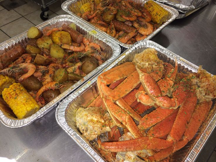 Seafood galore! Cajun buttery goodness Snow crab and shrimp boil. Complimented with Conecuh sausages, sweet corn and baby potatoes!