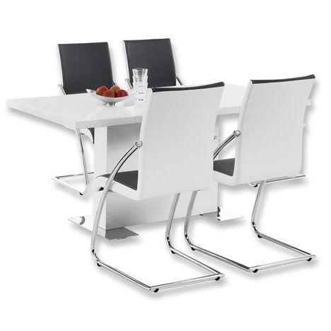 Esstisch CANDELA - Ein modernes und klares Design bestimmt die Optik dieses Esstisches und macht ihn zu einem echten Highlight in Ihrem Esszimmer oder der Küche. Die weiße hochglänzende Oberfläche ist zeitlos und elegant; die verchromten Metallsockel verleihen diesem Tisch jedoch eine ganz besondere Rafinesse. -      Farbe: weiß Hochglanz     Metallfüße verchromt -       Tischbein mittig      - Maße: BxHxT ca. 160 x 75 x 90 cm -      die abgebildeten Stühle sind im Lieferunfang nicht…