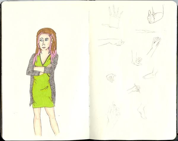 From my Moleskine - hand sketch and an unhappy lady in pencil, fineliner and letraset markers   Tali Kord
