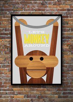 Retro Poster, dänisches Design, Kay Bojesen Affe, Mid Century Modern, Kinderzimmer, Küche-Kunst - wir Monkey ca. 50 x 70cm gelb  Digitaldruck. 50 x 70 cm große Größe 19,7 x 27,6 Zoll  Affen Sie-um mit dieser süß und liebenswert Affe von Kay Bojesen dem dänischen Designer.  Dieses Design ist auch in A3 Größe verfügbar *** https://www.etsy.com/listing/169733112/retro-poster-danish-kay-bojesen-monkey?ref=shop_home_active_2  TOP-Tipp: Alle meine Größe 50 x 70 cm-Abzüge in ein IKEA-52 x 72 cm…