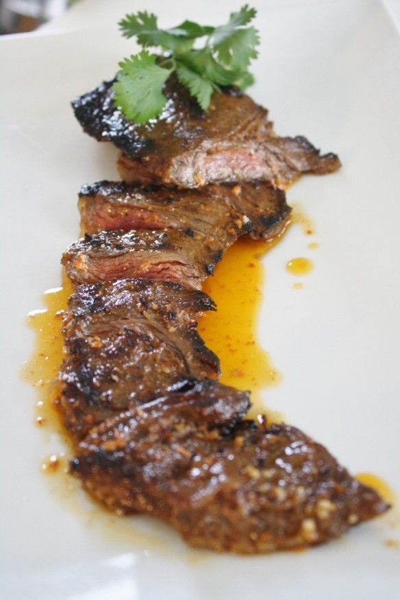 "Three Day Marinated Skirt Steak with Smokey Tomato Butter... perfectly tender beef with ""mind blowing"" flavor"