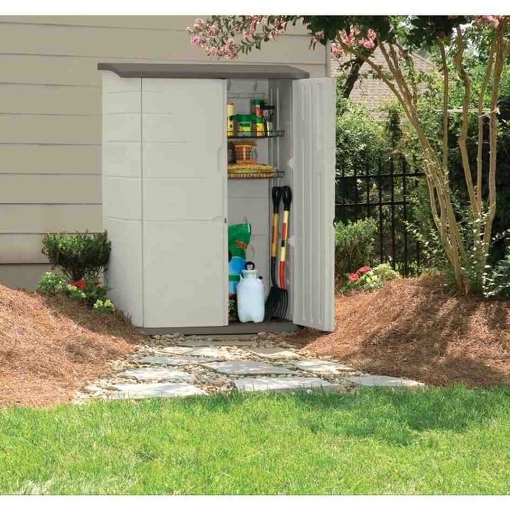 Rubbermaid 2 Ft X 4 Ft Large Vertical Storage Shed Two Doors 52 cu Ft