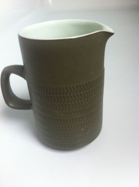 Denby Chevron/Camelot older dark green milk jug by PopPopova, £18.10