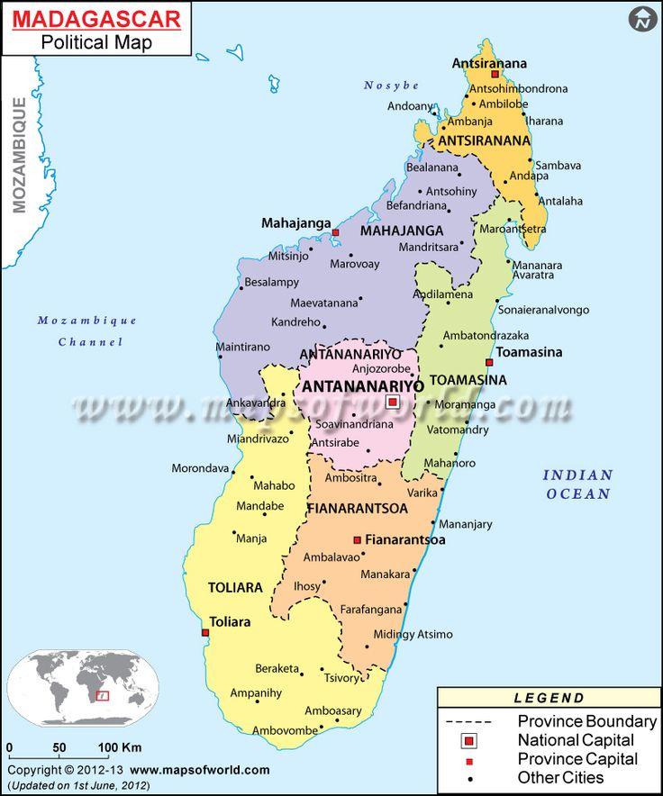 Mapa político de #Madagascar