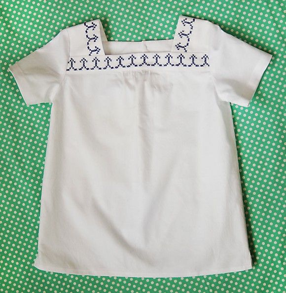 croquet cross-stitch blouse (tutorial for adding stitched detail using waste canvas)