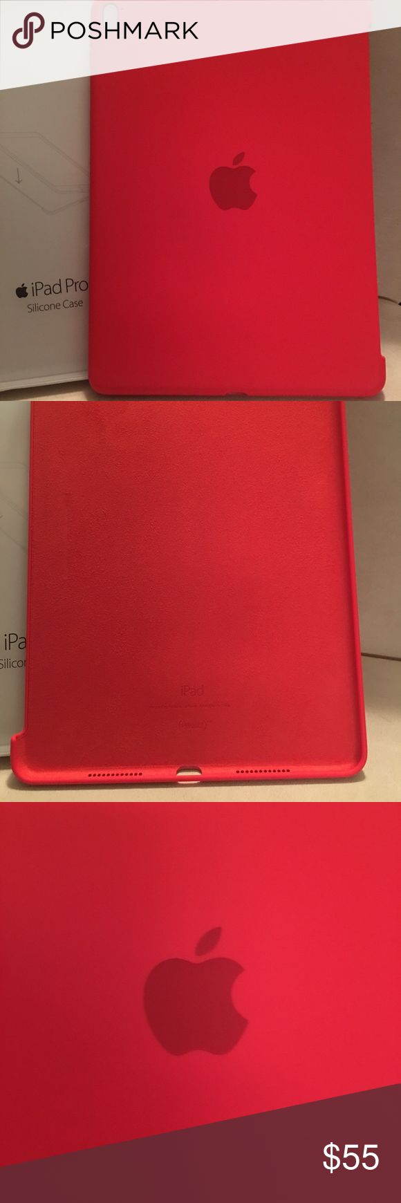 NWT APPLE OEM IPAD PRO BACK COVER NEW WITH TAG AND IN PACKAGE. AUTHENTIC OEM APPLE IPAD PRO 9.7 INCH  RUBBER SILICONE CASE.  COLOR IS LIKE BRIGHT RED. THIS HAS A FELT INNER MATERIAL TO PROTECT THE BACK OF YOUR IPAD FROM SCRATCHES /DINGS. IT IS DEFINITELY WORTH THE INVESTMENT. I KEEP ONE OF THESE ON ALL OF MY DEVICES AND THEY WORK:-) RETAIL $69.00.  BOX HAS MINOR SCUFFS AND A DING FROM HANDLING/STORAGE.  THANKS FOR VIEWING AND SHARING MY CLOSET. PLEASE COME BACK SOON AS I FREQUENTLY UPDATE…