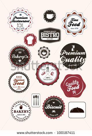 Set of vintage retro restaurant badges and labels