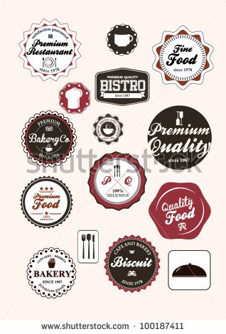 Set of vintage retro restaurant badges and labels