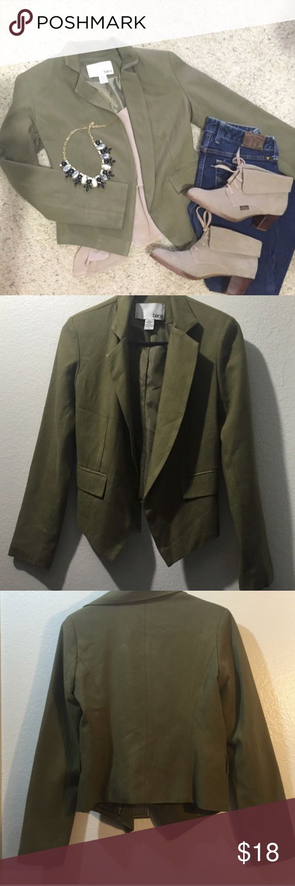 Olive Green Blazer Bar iii olive green blazer from Macy's. Great used condition Bar III Jackets & Coats Blazers
