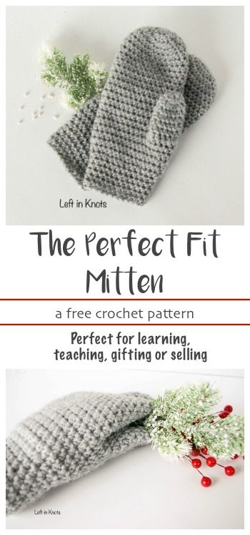 "A FREE beginner friendly crochet pattern. These mittens will fit you perfectly because they can be easily customized in length! They are the next pattern in my ""Crochet Basics"" series, which means they are simple and adorable. This free pattern is perfect for learning, teaching, selling or gifting!"