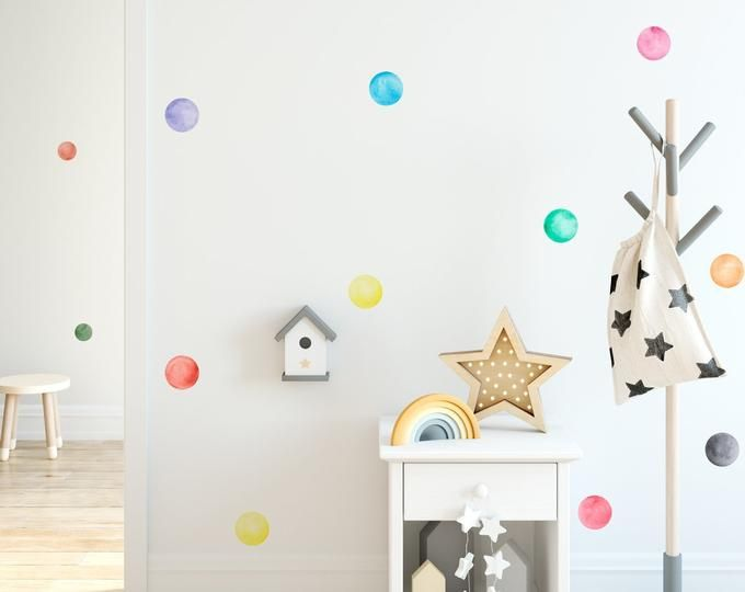 Small Rainbow Watercolor Dots Fabric Wall Decal Color Story