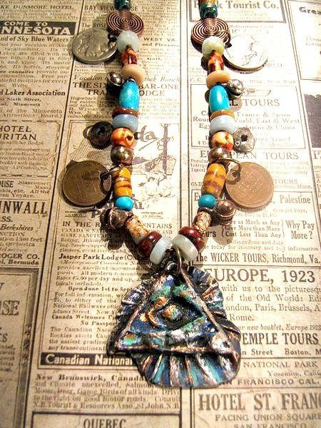 Abstract tribal gypsy primitive mixed by jenuineserendipity, $165.00