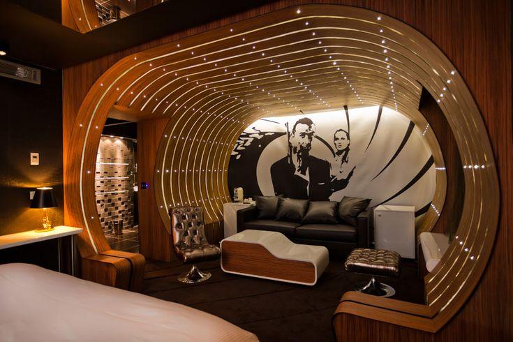 The James Bond Suite at Hotel Seven - Paris, France. Unique Hotels   Hotel Interior Designs http://hotelinteriordesigns.eu/ #hotel #interior #design