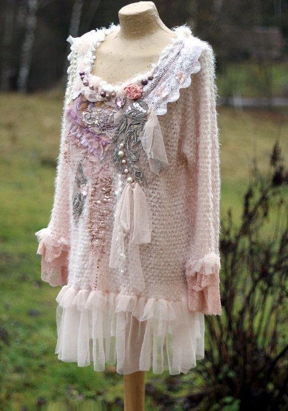 Rose quartz  shabby chic romantic feminine jumper with ornate