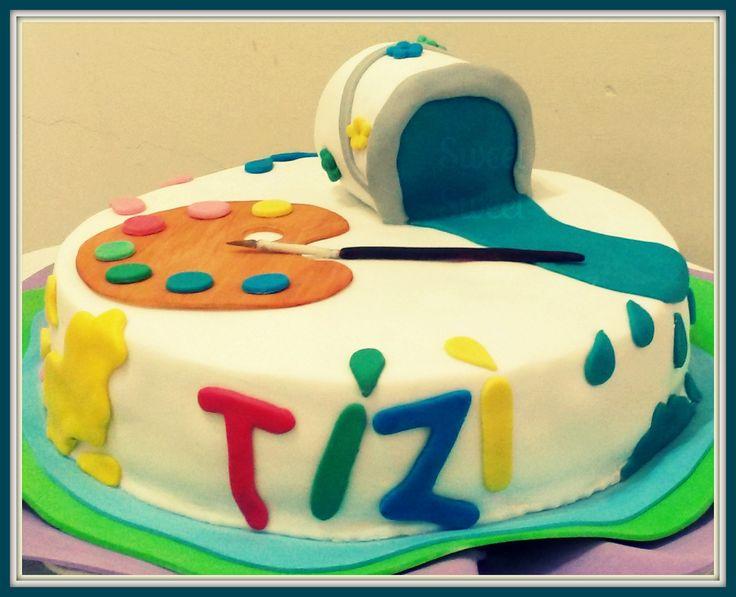 Torta Artista, con pinturas. Decoraciones en pasta de goma. Lata de pintura tallada en torta de manteca #tortaartista #tortapinturas #colorcake facebook.com/sweetsweetpasteleria