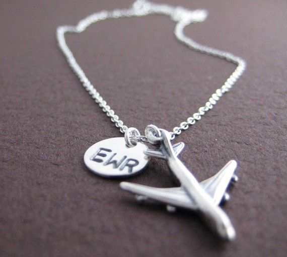 Represent. Sterling Silver necklace with airplane charm and hand stamped airport code. Bridesmaids gifts
