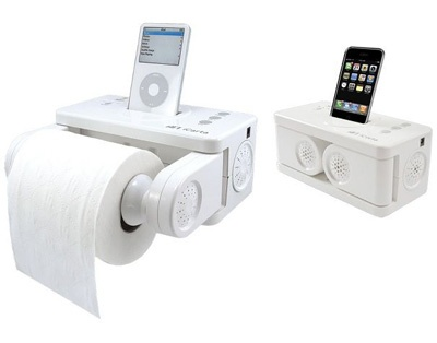 A Recent Survey Showed That People Are Using Their Smartphone Or PMP In The Bathroom More Than Ever ICarta Makes Toilet Paper Holder Dock For Your