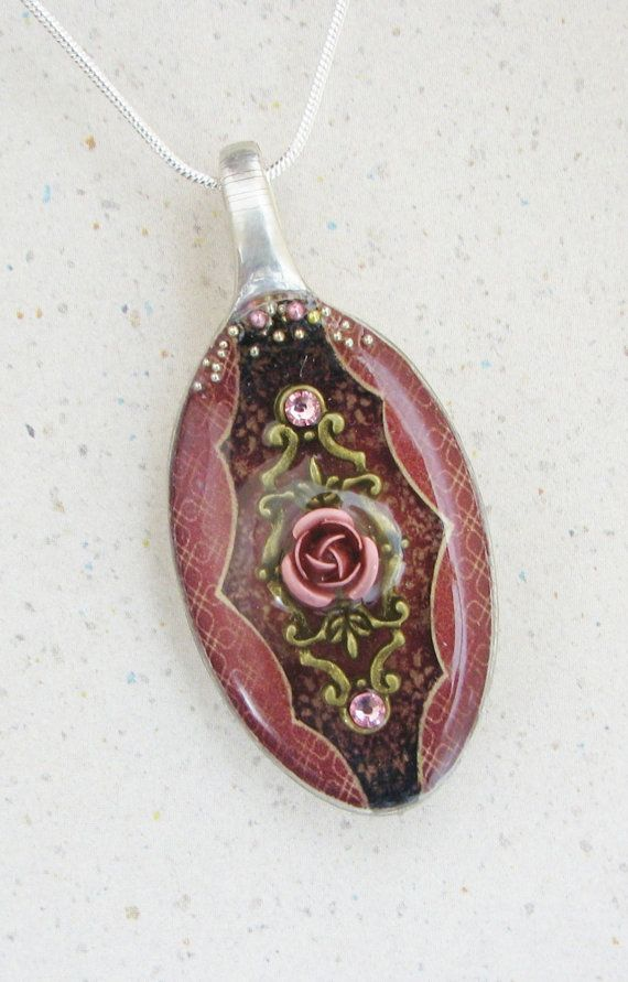 Rose Spoon Necklace Resin Spoon Pendant 3D