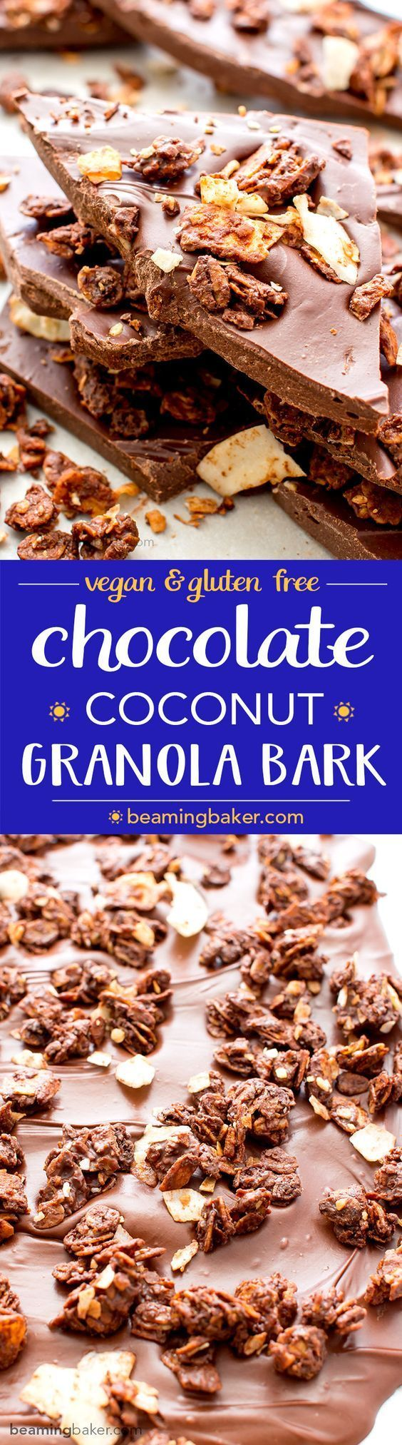 Chocolate Coconut Granola Bark (V+GF): Richly indulgent, heavenly chocolate covered coconut granola enrobed in a thick layer of chocolate. http://BeamingBaker.com #Vegan #GlutenFree