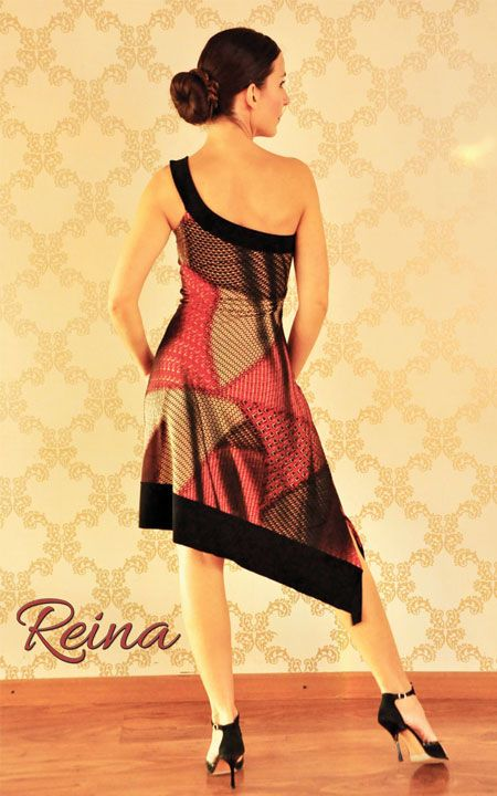 One strap asymmetrical tango dress Reina