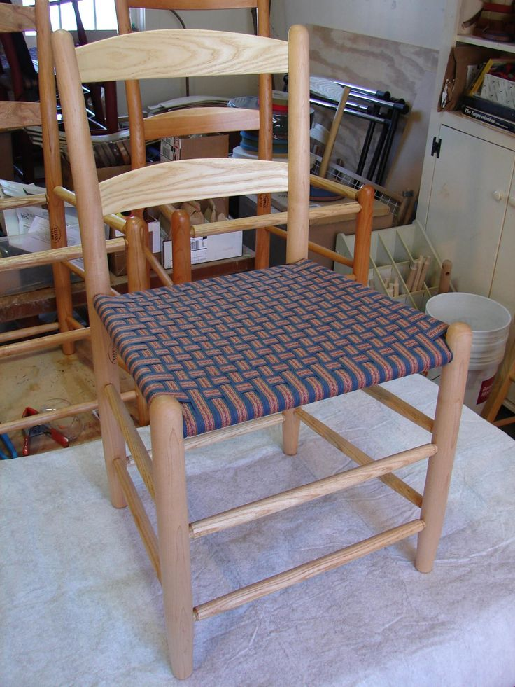 A Maple And Ash Two Slat Tappan Side Chair With A Shaker Flame Checkerboard  Weave