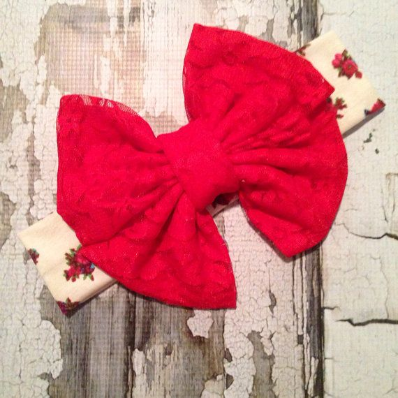 Red Lace Rosey Posey Floppy Bow Headwrap Messy by CarolandGrace