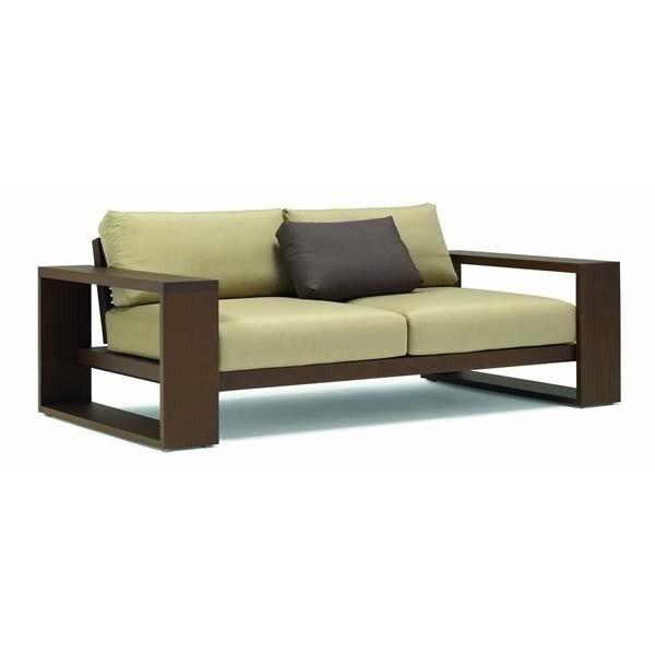 sofa para exterior tapizado con estructura de madera de dos plazas