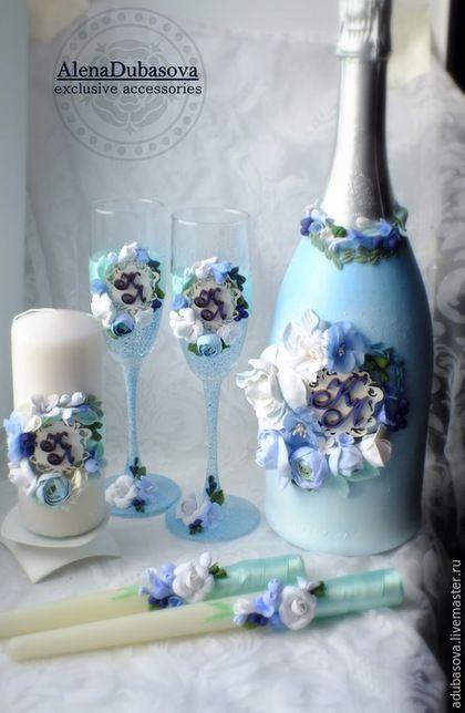Свадебные аксессуары ручной работы. Ярмарка Мастеров - ручная работа. Купить Комплект голубой с инициалами. Handmade. Голубой, свадебные бокалы