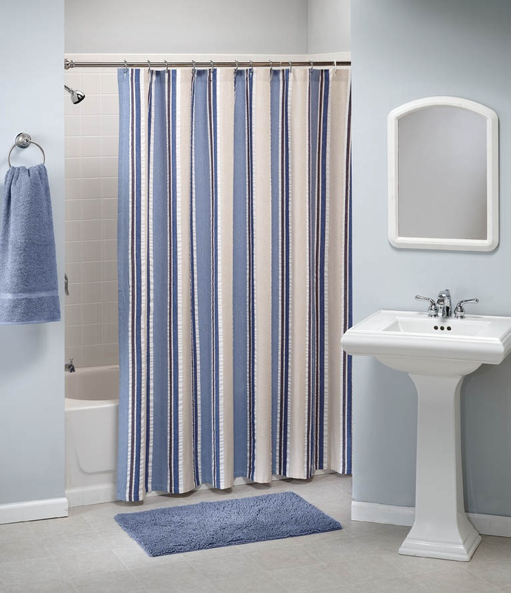 Nautical Stripe Freestanding Shower Curtain By Saturday