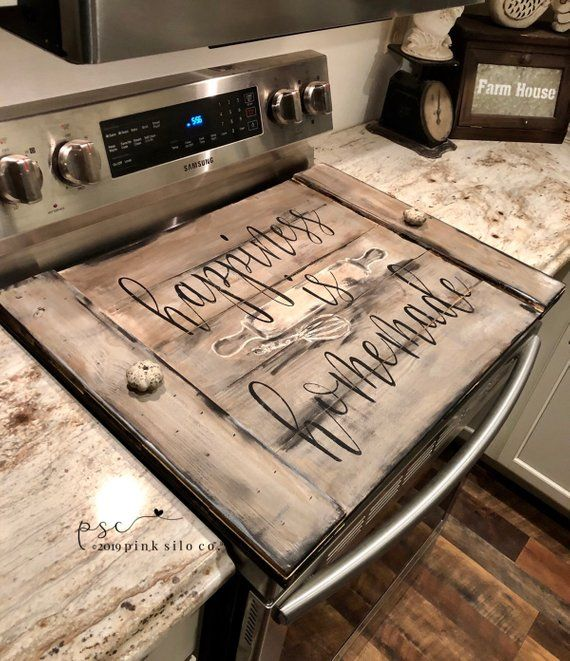 Happiness Is Homemade Stove Top Cover Farmhouse Stove Top Cover Noodle Board Cover For Stove Stovetop Cover Oven Board Stove Top Cover Noodle Board Wooden Stove Top Covers