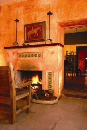 Fireplace adorned with Mexican tile