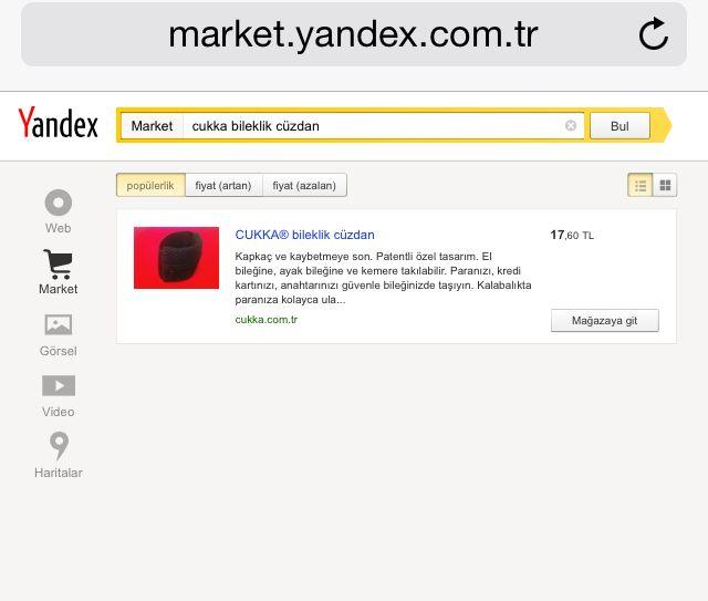 Kapkaç ve kaybetmeye son! 8 Nisan 2014 tarihinden itibaren CUKKA® bileklik cüzdan Yandex Market'te satışa sunulmuştur.  Yandex Market'e şu adresten erişebilirsiniz. http://market.yandex.com.tr/search?redirect=1&text=cukka+bileklik+cüzdan