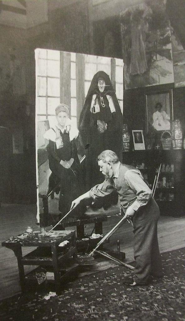 Spanish painter Joachin Sorolla working in his studio