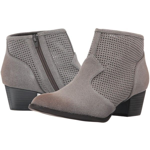 C Label Hannah-15 (Grey) Women's Boots ($40) ❤ liked on Polyvore featuring shoes, boots, grey, side zipper boots, synthetic leather shoes, vegan boots, grey boots and synthetic boots
