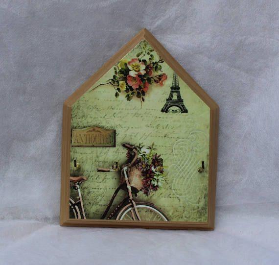 Paris theme decoupage key rack  Decoupage key rack  House
