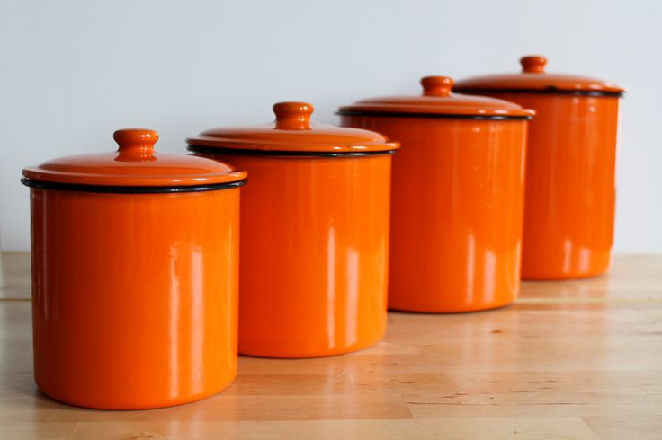 Enamel Flame Orange Canister Set Bright Colorful Enamelware Nesting Kitchen Canisters Of 4 Sets And