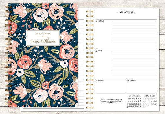 2016 planner calendar choose start month | custom weekly student planner | personalized planner agenda | pink navy gold floral pattern
