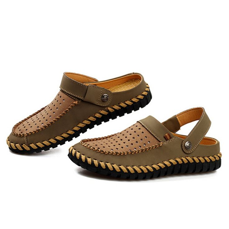 2017 new breathable mesh men summer shoes flats men slipper and sandal shoes closed toe sandals for men leather slippers T032218